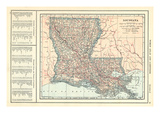 1914, Louisiana State Map 1908 Revised 1914, Louisiana, United States Giclee Print