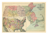 1898, United States Map, Massachusetts State Map, Massachusetts, United States Giclee Print
