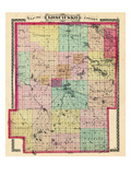 1879, Kosciusko County Map, Indiana, United States Giclee Print