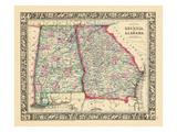 1864, Landkarte von Georgia und Alabama, Vereinigte Staaten, USA Giclée-Druck