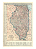 1917, Illinois State Map 1917, Illinois, United States Giclee Print