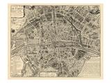 Paris, France, Vintage Map Giclée-tryk