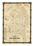 1861, Prince George's County Wall Map, Maryland, United States Reproduction procédé giclée