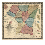 1862, Carroll County Wall Map, Maryland, United States Giclee Print