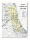 1911, Chicago Railroad Map 1911, Illinois, United States Giclee Print