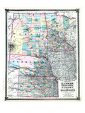 1875, Kansas, Nebraska, Dakota and Minnesota States Map, United States Giclee Print