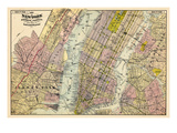 1891, New York, Map, Brooklyn, Jersey City, New York, United States Reproduction procédé giclée