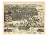 1885, Pensacola Bird's Eye View, Florida, United States Giclee Print