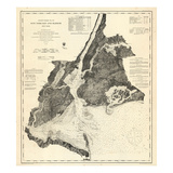 1866, New York Bay - Staten Island - Point Comfort Chart 1851 New York and New Jersey, New York, Un Giclee Print