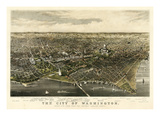1880, Washington 1880c Bird's Eye View, District of Columbia, United States Reproduction procédé giclée