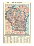 1917, Wisconsin State Map 1917, Wisconsin, United States Giclee Print