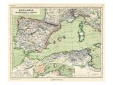 1898, 500 BC, Algeria, Libya, Morocco, Tunisia, France, Portugal, Spain, Hispania, Africa Giclee Print