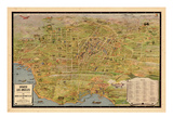 1932, Los Angeles Tourist Map, California, United States Giclee Print