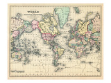 1876, World, Map of the World 1876 Giclee Print