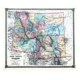 1875, Idaho, Montana and Wyoming States Map, United States Giclee Print