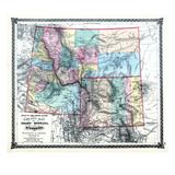 1875, Idaho, Montana and Wyoming States Map, United States Giclee Print