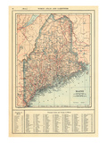 1914, Maine State Map 1908 Revised 1914, Maine, United States Giclee Print