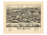 1887, West Medway Bird's Eye View, Massachusetts, United States Giclee Print