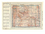 1917, Wyoming State Map, Wyoming, United States Giclee Print