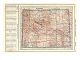 1917, Wyoming State Map, Wyoming, United States Giclee Print