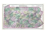 1891, Pennsylvania State Map, Pennsylvania, United States Giclee Print