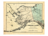 18xx, Alaska Territory Map, Alaska, United States Giclee Print