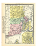 191x, Rhode Island State Map With Providence Inset, Rhode Island, United States Giclée-Druck