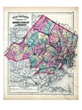 1873, Morris, Passaic and Bergen Counties Map, New Jersey, United States Giclee Print