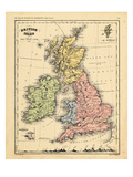 1866, Ireland, England, Scotland, United Kingdom, Wales, British Isles Gicléetryck
