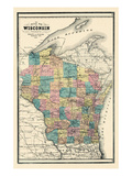 1889, State Map, Wisconsin, United States Giclee Print