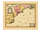 1710, Connecticut, Maine, Massachusetts, New Brunswick, New Hampshire, New York, Nova Scotia Giclee Print