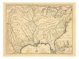 1718, antike Landkarte von Louisiana, Maryland, North Carolina, South Carolina, Vereinigte Staaten, Virginia, Nordamerika, USA Giclée-Druck