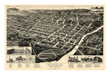 1887, Macon Bird's Eye View, Georgia, United States Giclee Print