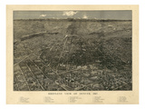1887, Denver Bird's Eye View, Colorado, United States Giclee Print