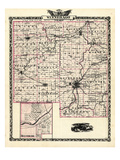 1876, Winnebago County Map, Belvedere, Illinois, United States Giclee Print