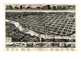 1886, Columbus Bird's Eye View, Georgia, United States Giclee Print