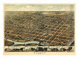 1870, Dayton Bird's Eye View, Ohio, United States Giclee Print