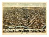 1870, Dayton Bird's Eye View, Ohio, United States Giclee Print