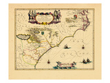 1640, Florida, Georgia, North Carolina, South Carolina, Virginia Giclee Print