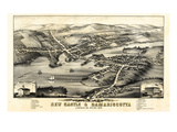 1878, New Castle and Damariscotta Bird's Eye View, Maine, United States Giclee Print