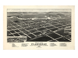 1883, Flandreau Bird's Eye View, South Dakota, United States Giclee Print