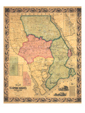 1858, Harford County Wall Map, Maryland, United States Giclee Print