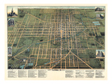 1892, Lima Bird's Eye View, Ohio, United States Giclee Print