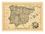 1710, A correct map of Spain and Portugal according to the newest observations Giclee Print