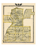 1876, Putnam County Map, Eastern Part of Marshall County Map, Hennepin, Illinois, United States Giclee Print