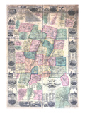1855, Hartford County Wall Map, Connecticut, United States Giclee Print