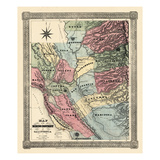 1851, California Mining Districts Map, California, United States Giclee Print