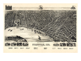 1888, Evansville Bird's Eye View, Indiana, United States Giclee Print