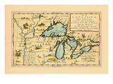 1696, Illinois, Indiana, Michigan, Minnesota, New York, Ohio, Ontario, Pennsylvania, Wisconsin Giclee Print