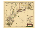 1690, antike Landkarte von Neuengland, Connecticut, Maine, Massachusetts, New Hampshire, New Jersey, New York, Nordamerika, USA Giclée-Druck